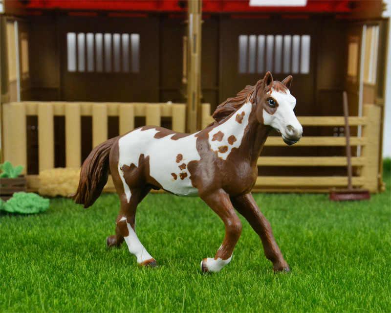 Original genuine Selvagem Animal de fazenda Pinto Garanhão Cavalo figura Modelo brinquedo do menino crianças dos miúdos giftcollectible Estatueta