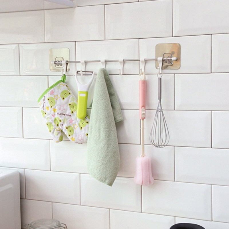 Nail Free Suction Hook Kitchen Adjustable Rack Strong Adhesive Hanging Hook Towel Holder Key Hooks Bathroom Storage Rack Shelf