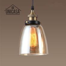 Amber Glass Shade Ceiling Light Vintage Chandelier Lighting Kitchen Island Pendant Mini LED Modern Lamp
