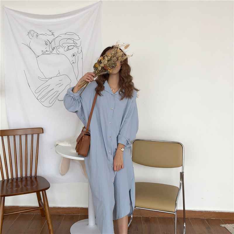 Vintage autumn Long Dress long Sleeve shirt turn down collar woman Lady loose shirt Casual Fashion maxi Dress cotton blue white 5
