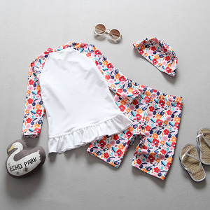 Image 2 - 2018 Toddler Girls Swimsuits Separate Two Pieces Rash Guards Floral Printed Peacock Children Swimsuit for Girls Kids Swimwear