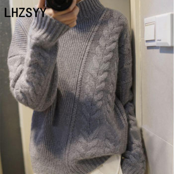 1386b0f28b Custom Review LHZSYY Winter New Women s High-Neck Cashmere sweater Loose Large  Size High Quality Wool Pullover Solid Warm Female Sweater Thick