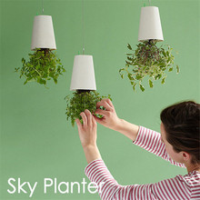 Decorative Small Hanging Plant Pot Plastic Upside Down Flower Pots Sky  Planter For Home Indoor Decoration