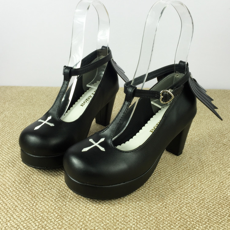 Japanese Devil Angel Wings Sweet Lolita Princess Shoes Black Gothic Lolita Cosplay Ankle T-strap Cross High Heels Shoes