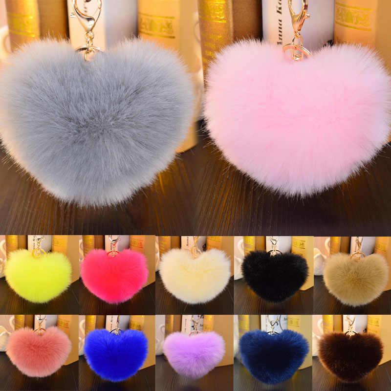 LNRRABC Mulheres Moda jóias Em Forma de Coração Anel Chave Chaveiro Bolsa Acessório Do Carro Do Falso Pele De Coelho PomPom 18 Cores