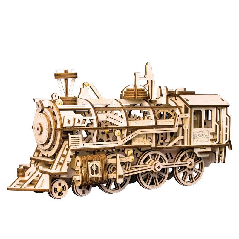 Robotime Train Model 3D Wooden Puzzle Locomotive Assembly Model Building Kit Toys For Children LK701