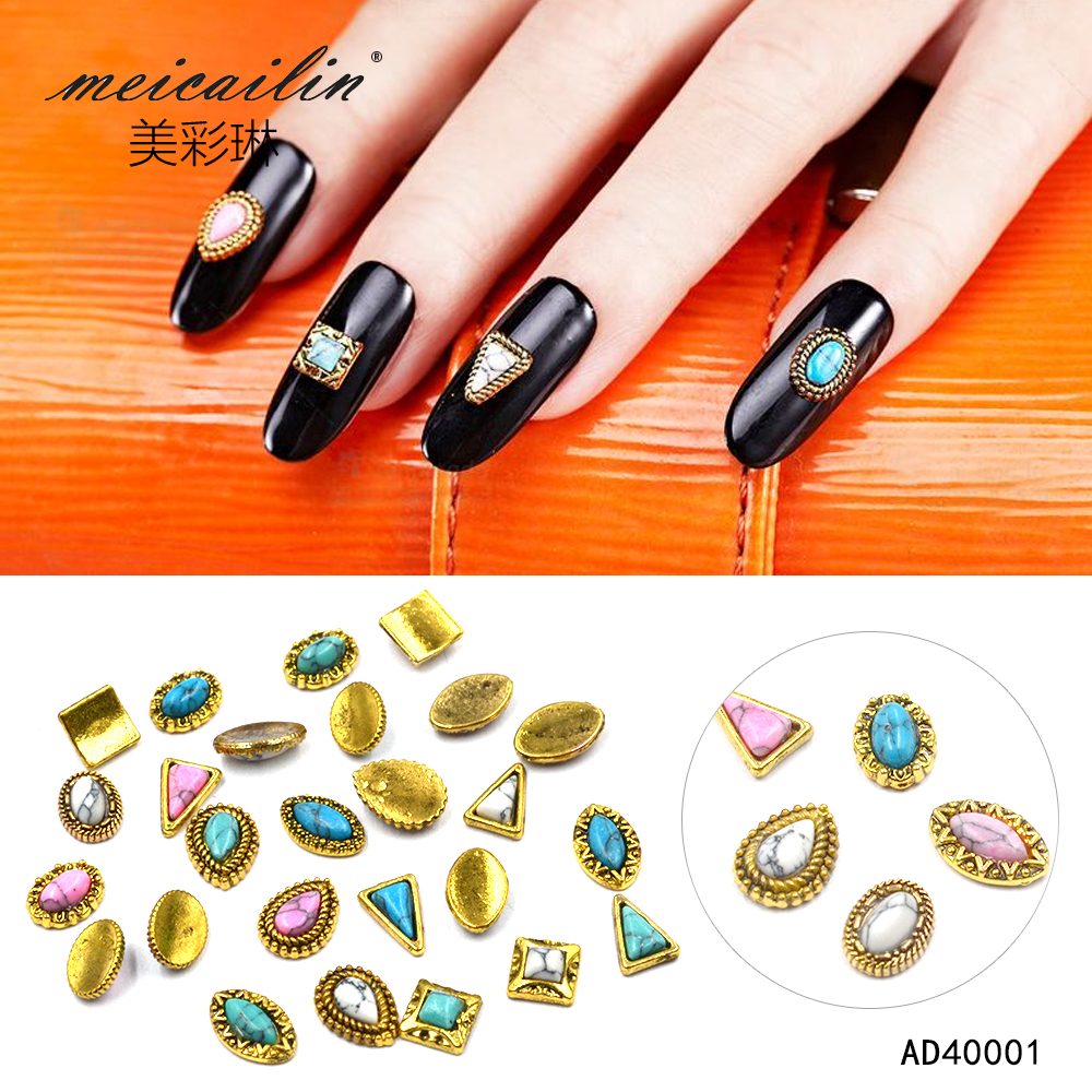Meicailin 10Pcs/lot Retro Alloy 3D Nail Art Charm Decorations Glitter Jewelry Rhinestones For Nail Studs Tools DIY Gem 10pcs glitter crystal nail gem rhinestones alloy 3d nail art jewelry diy phone case decoration mns784