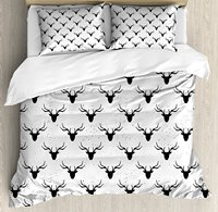 Deer Duvet Cover Set Deer Head with Antlers Silhouette Form Stained Worn Background Animal Illustration 4 Piece Bedding Set