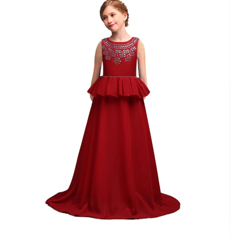 Children Christmas Dresses For Girls Wedding Party Baby Girl Kids Prom Gown Dress Teenager 2-12 years Girl Clothes red flower baby dresses girls kids evening party dresses for girl clothes infant princess prom dress teenager children girl clothing