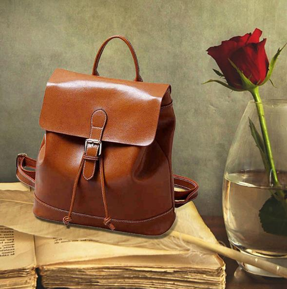 Famous Designed 2017 Vintage Shoulder Bags New Brand Preppy Style Women Backpacks Solid Simple Genuine Leather