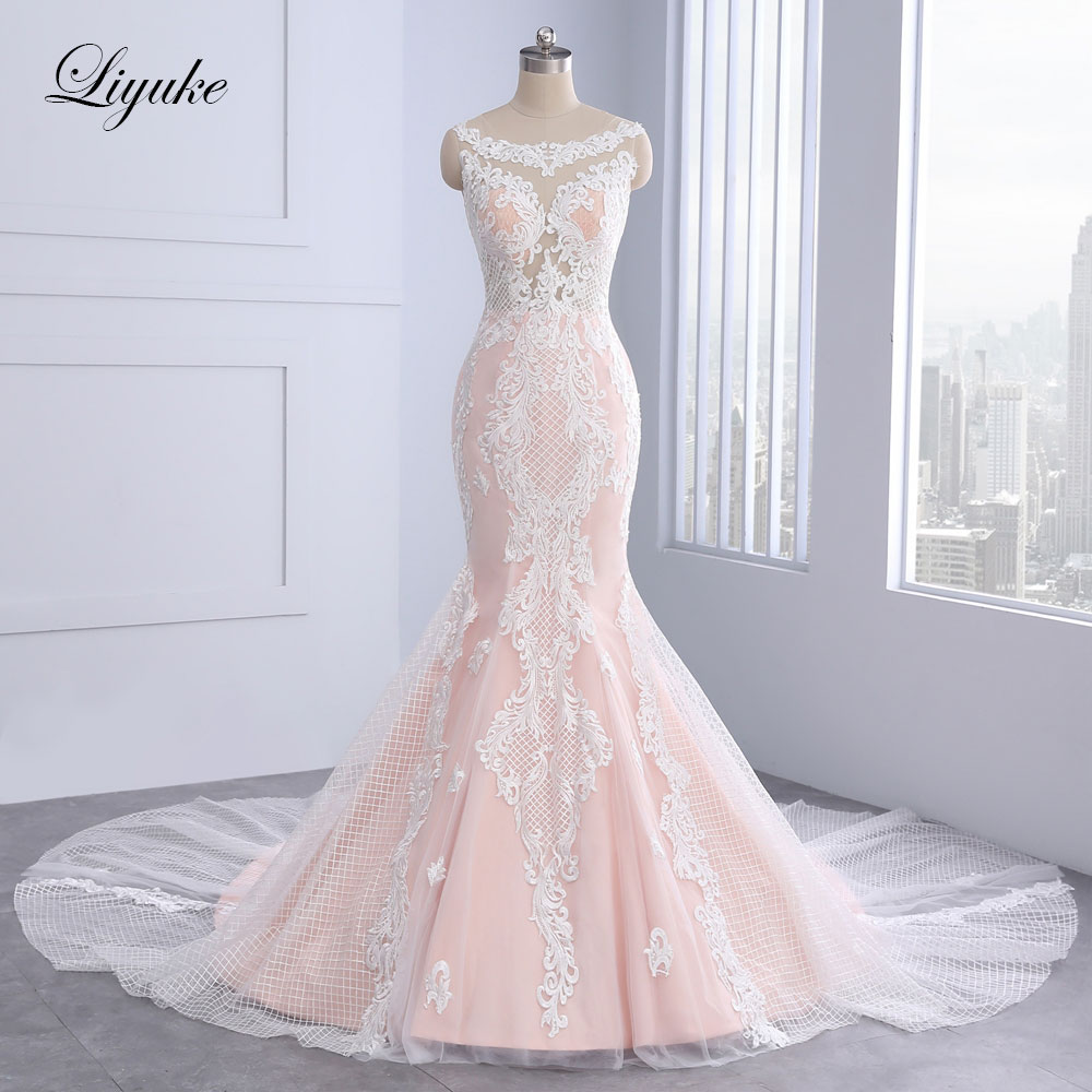 Elegant Sleeveless O Neck Mermaid Wedding Dress Unique Appliques Lace Court Train With Button Embroidery Bridal Dresses Liyuke
