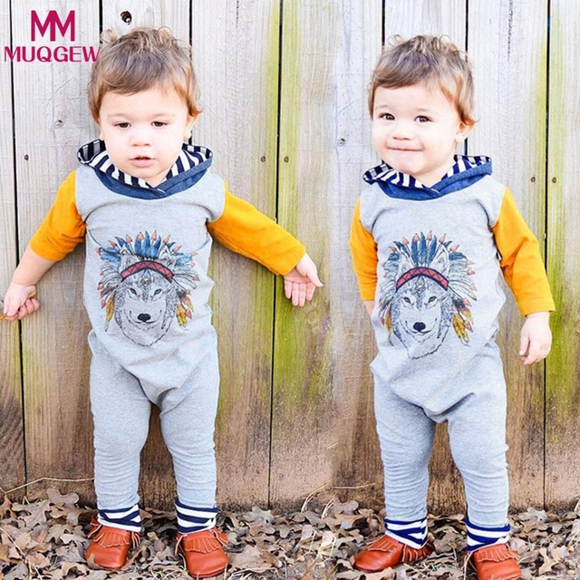 b7ce92e5c2 2018 Fashion Spring Autumn Newborn Baby Boys Girls Indian Wolf Hoodie  Romper Jumpsuit Outfits Clothes kids children clothing