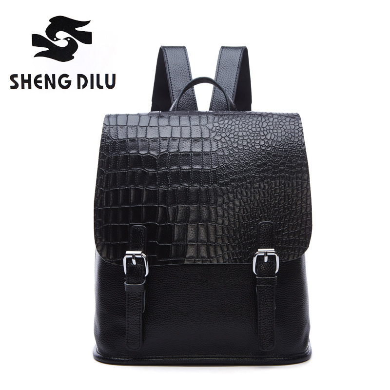 Shengdilu Fashion Genuine Leather Backpack Women Bags Vintage Style Backpack Girls School Bags Zipper Shoulder Women
