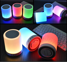 Wireless Bluetooth Speaker Hands-free Call Colorful Touch LED Light Lamp With TF Card Music Player Smart Speakers Subwoofer