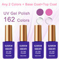 UV Gel Nail Polish Long-Lasting Nail Gel any 2 from 162 colors and Primer 15ml Top Coat + Base Coat Foundation for UV Gel Polish
