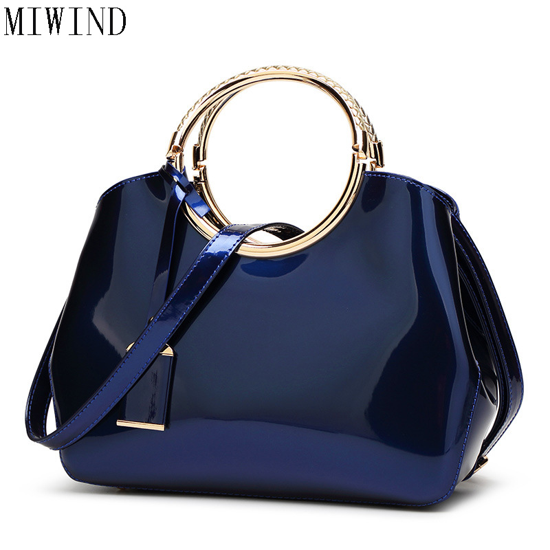 Elegant Vintage High Quality patent Leather Totes Top Metal handle bags handbags for women lady female Feminina TYF496 women wallet long zipper wallet high capacity crocodile grain female card package fashion hand bag change purse