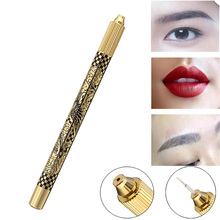 Manual Eyebrow Tattoo Pen Permanent Tattooing Machine Makeup Tool 3D Embroidered Microblading Eye Brow Lip Tebori Munsu Gold
