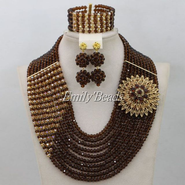 Fabulous Chocolate Brown Gold Champagne Crystal Nigerian Traditional
