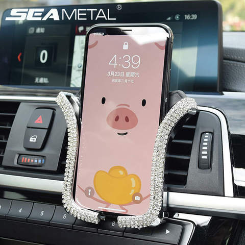 Rhinestones Crystal Car Phone Holder Air Outlet Vent Support Phone Diamond Clip Universal Smart Phone Stand Interior Accessories Pakistan