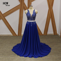 Backless Royal Blue Evening Dress 2017 New Beaded Crystals Lace Chiffon Long Formal Gowns Elegant Arabic