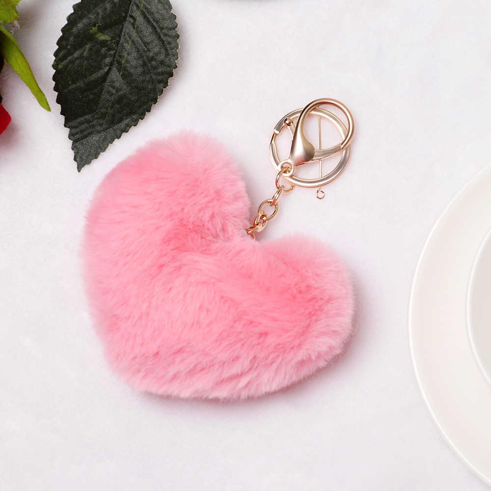 Bonito Presentes Chaveiro para As Mulheres Macio da Forma Do Coração Pompom Pompom Fofo Falso Coelho Bola Acessórios do Saco Chave Do Carro Da Corrente Chave anel