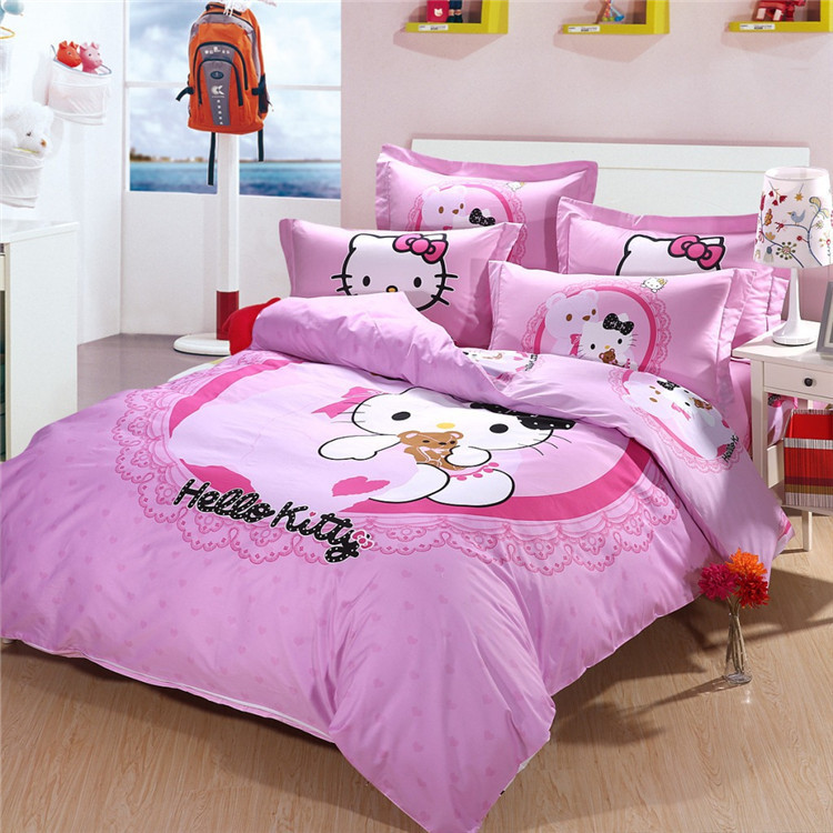 christmas gift hello kitty 100 cotton girls bedding sets twin size queen full size duvet cover bedroom queen sets kids twin
