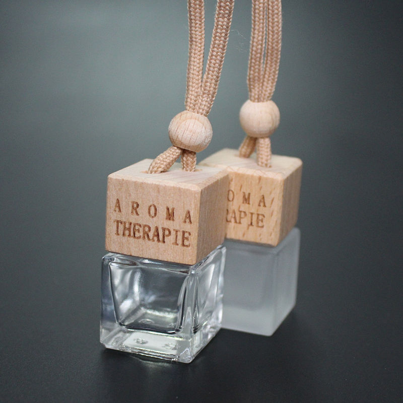 1PC 6ml Frosted Glass Perfume Bottle Car Perfume Bottle Hangings Pendant Scent Bottle With Wood Cover