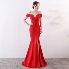 4c1fe9884bb27 Corstory Hot Red Sexy Beading V-Neck Cold Shoulder Dress With Slings  Slimming Charming Mermaid