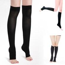 1 пара новых Для женщин Acrylon колена высокого сжатия тонкие ноги 30-40 мм рт. ст. поддерживает открытым носком варикозное расширение вен формирование Чулки для женщин