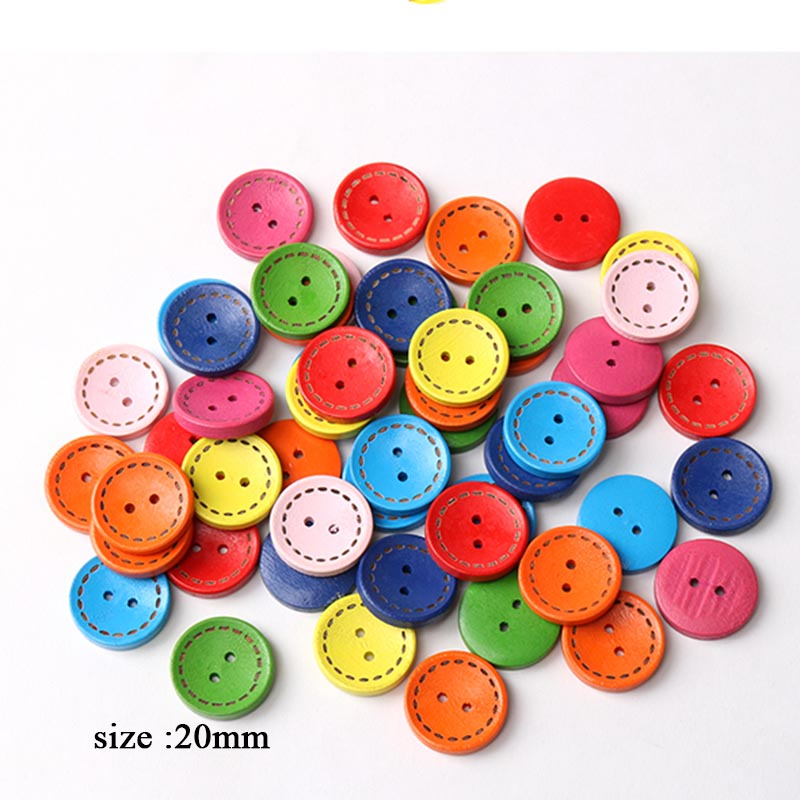 40 шт. Высокое качество DIY деревянная картонная пуговица Смешанная детская пуговица для одежды - Цвет: 20mm