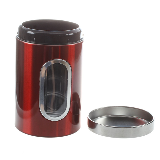 3pcs Stainless Steel Window Canister Tea Coffee Sugar Nuts Jar Storage Set Silver Red