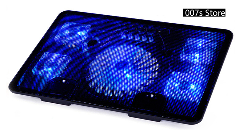 "NEW Radiator Cooler Cooling Fan FOR Na Ju N5 Laptop Pad 14"" 15.6"" 17"" with 5 fans 2 USB Port Side-proof Stand Notebook Light"