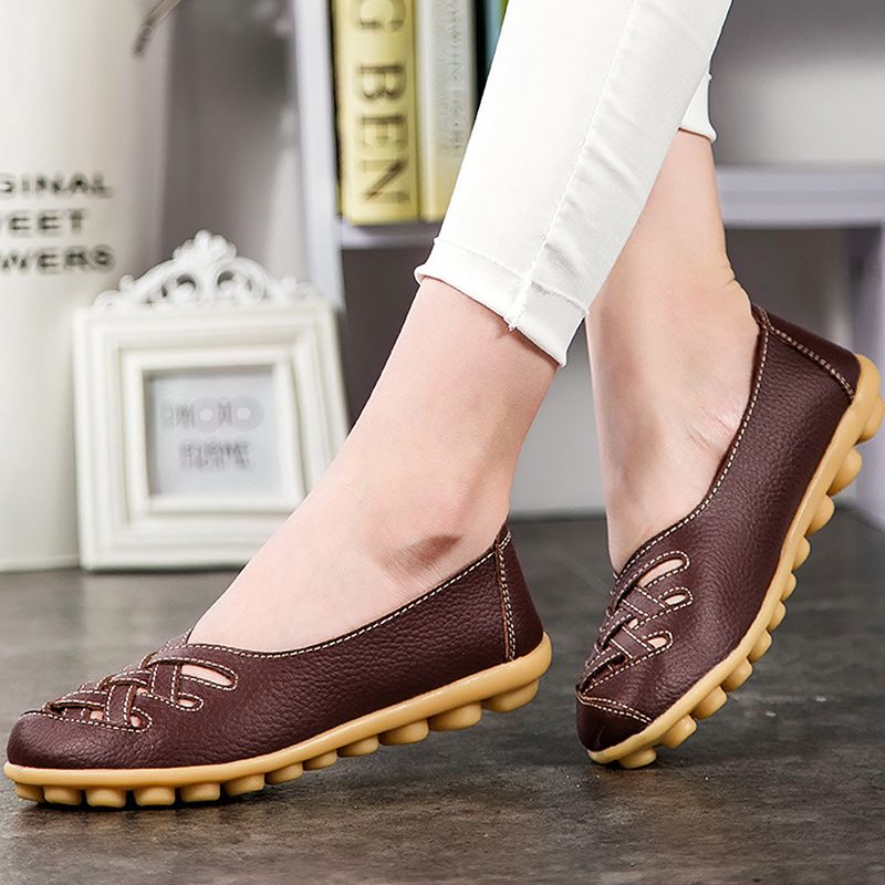e59aca95aaca Loafers genuine leather flat women shoes pigskin shallow Ladies shoes  slip-on hollow round toe Big size 34-44 Casual shoes solid