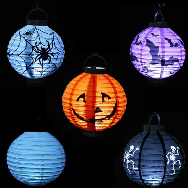 Halloween Pumpkin Light Luminous Paper Lantern Decoration LED Paper Light Hanging Lamp P ...