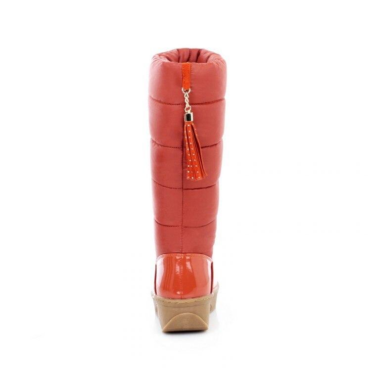 Dropshipping La Invierno Espesar Para Tamaño De Exclusivo Mujeres Media Pisos Botas naranja Negro Nieve Ruso Abajo 40 Pantorrilla Las Más Zapatos Casuales marrón PYpPxrnq