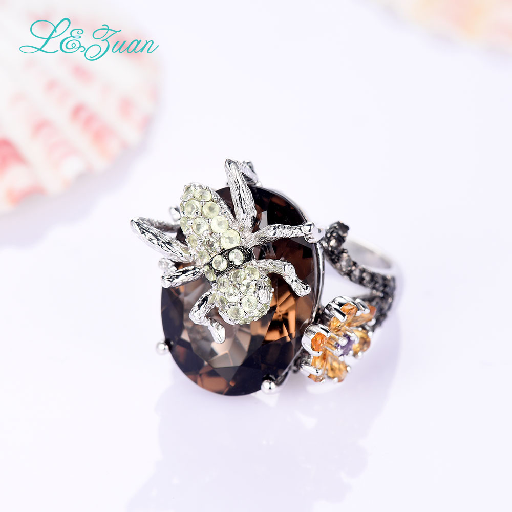 l&zuan 925 sterling silver Natural 3.021ct Citrine Yellow Stone Prong Setting Ring Jewelry for Gift Black Friday