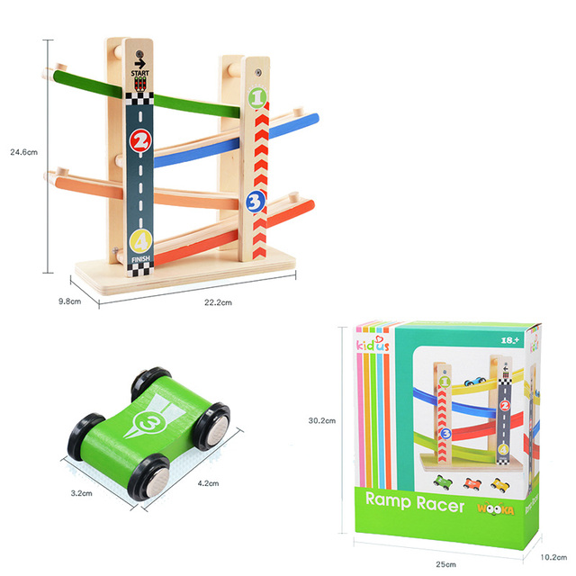 Forest City Wooden Slide Car Set Wooden Train Track Car Model Puzzles Wooden Early Educational Toys For Children dropshipping
