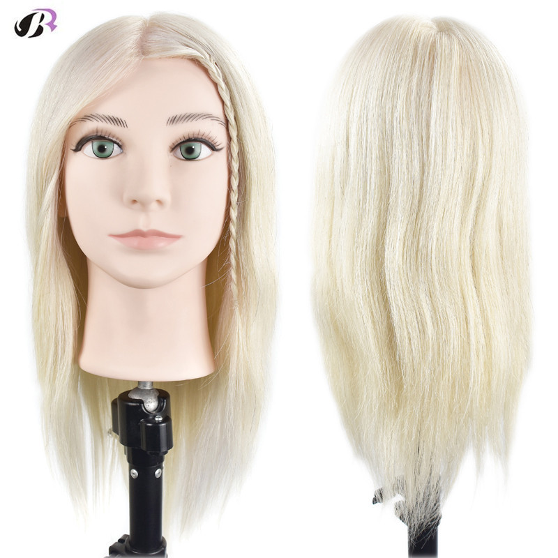 New Arrival Blonde 16inch Training Head With 100% Natural Human Hair Hairstyles Dummy Mannequin Head Hairdressing Manikin Dolls hot sale 8 male mannequin head 100% virgin human hair hairdressing training head hairstyles manikin head dolls with free clamp