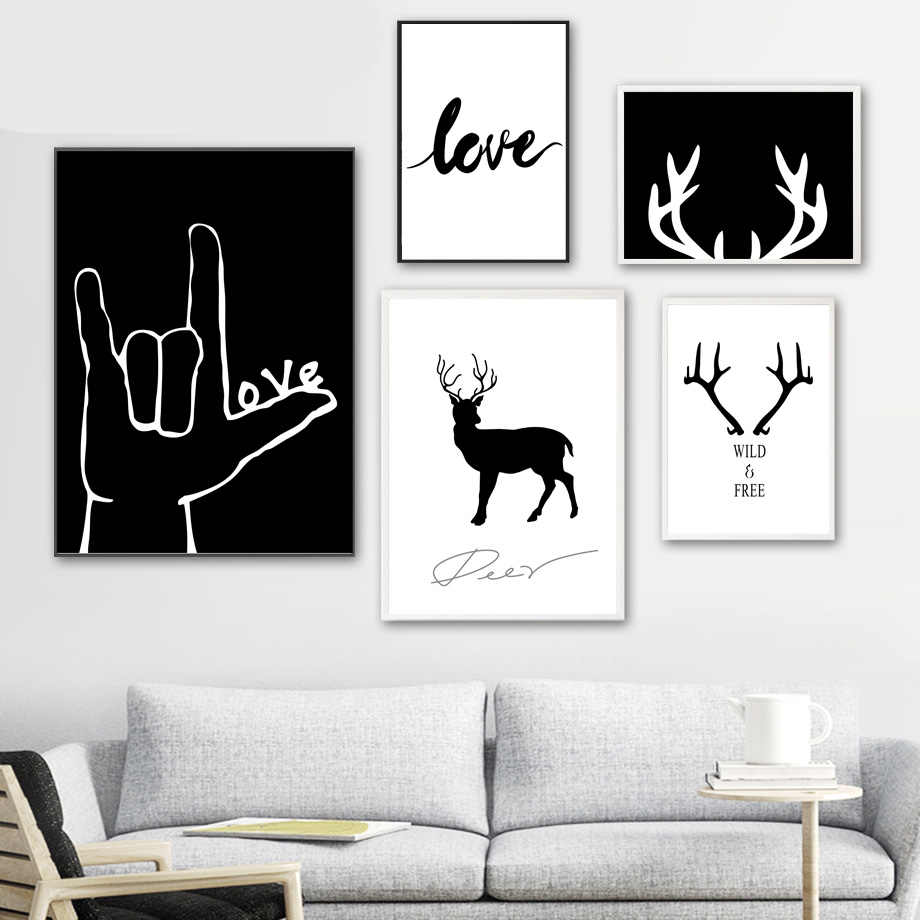 Simple Love Deer Nordic Posters And Prints Wall Art Canvas Painting Wall Pictures For Living Room Scandinavian Home Decor Painting Calligraphy Aliexpress