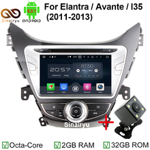 1024*600 Eight Core Android 6.0 Car Radio for Hyundai Elantra AVANTE I35 2011 2012 2013 DVD Player With WIFI Mirror-Link