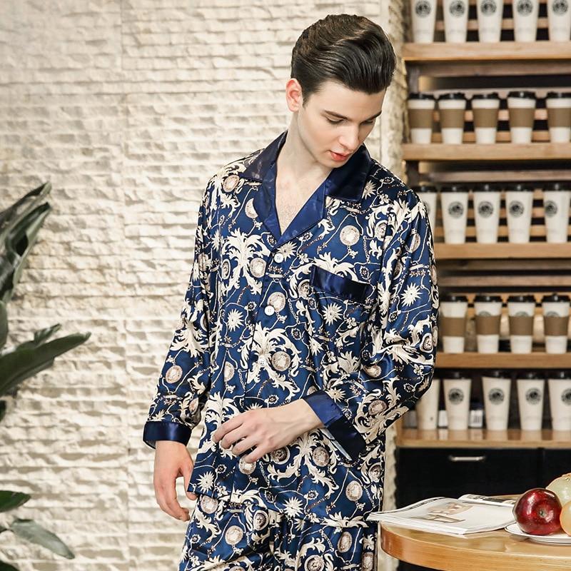 Luxury Nobility Mens silk pajamas in spring summer long sleeved satin pyjama set with trousers home clothing loungewear in Pajama Sets from Underwear Sleepwears