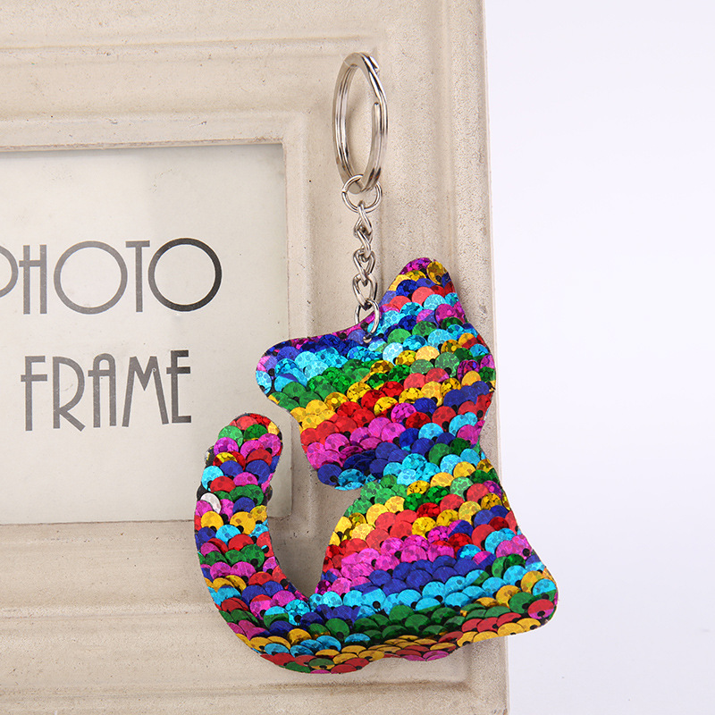 все цены на Cute Women Cat kitten Keychain Glitter Sequins Key Ring for Women Handbag Purse Pendants Holder Keyring Porte Clef Llaveros