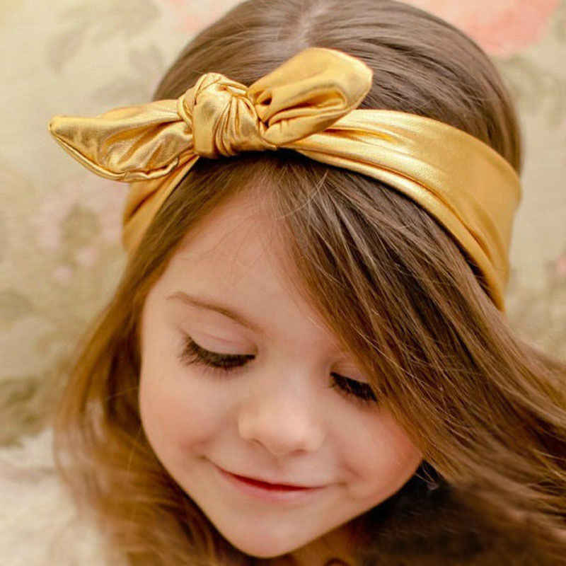 New Fashion Children Metallic Messy Big Bow baby Girls Headband Baby kids Cloth Turban Knot Hairband Wrap Hair Accessories