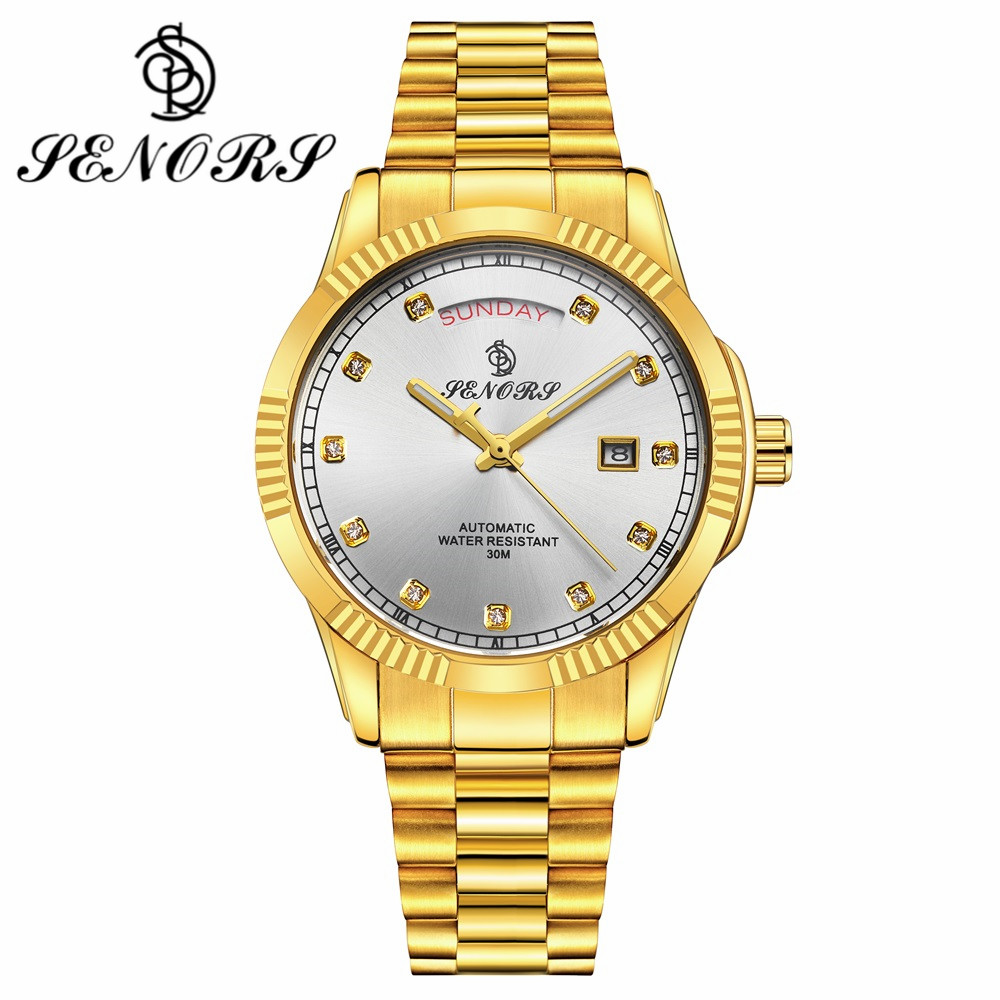SENORS Luxury Gold Watch For Men Date Day Display Automatic Mechanical Stainless Steel Strap Band Male Business Wristwatch SN017 agentx brand auto day display rose gold stainless steel case tag heuerwatch wristwatch men business quartz men watch agx042