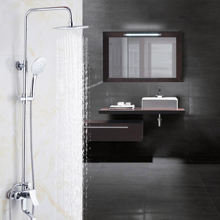 Modern Bathroom Big Rain Shower Faucet Set Chrome Mixer Water Taps With Hand Shower Head Set Wall Mounted Shower Set 9199
