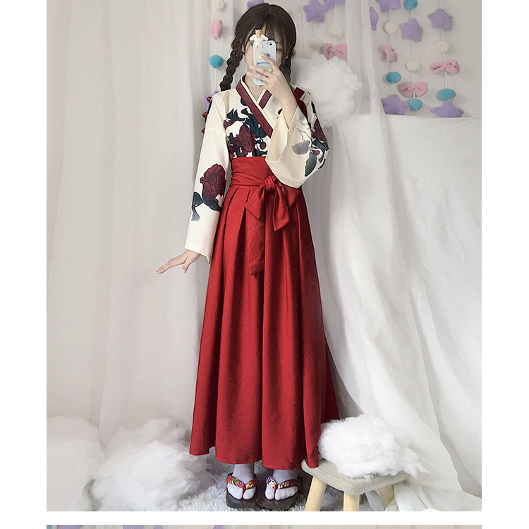 Girls Japanese Style Retro Kimono Floral Long Sleeve Woman Party Dress Summer Fashion Outfits Top Bow Skirt Haori for Female 3