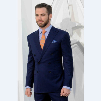 2018 Navy Blue Men Suits Peak Lapel Groom Tuxedos Double-Breasted Groomsmen Slim Fit Business Evening Clothes (Jacket+Pants)