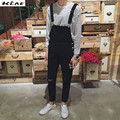 New Autumn Men's casual summer style denim bib overalls for man knee hole ripped length jeans Jumpsuits Free shipping