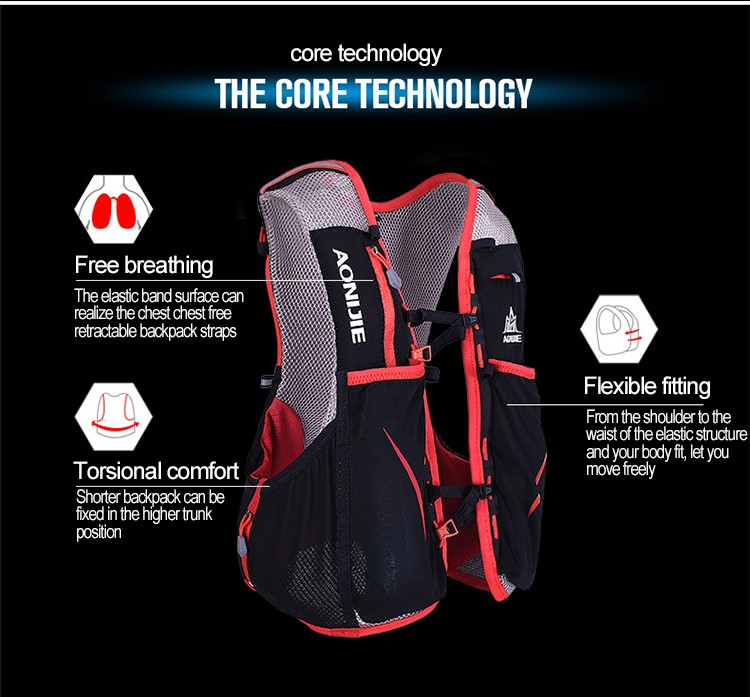 Foto of core technology breathable hydration vest pack for cycling. Outdoor hydration rucksack 1.5L for men