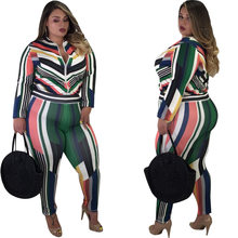 Multi Color Striped Fashion Woman Bodycon Suits Two Pieces Front Zipper Down Long Sleeve Tops Skinny Pants Set Plus Size XL(China)